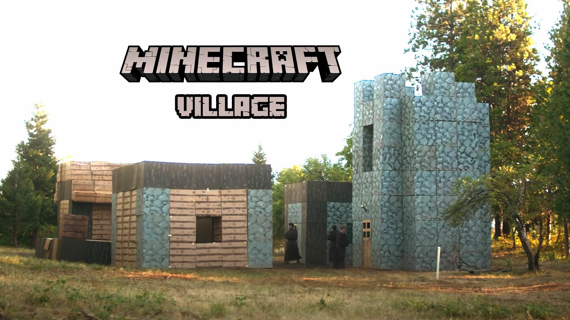 Ils construisent un village Minecraft IRL à partir de boites en carton.